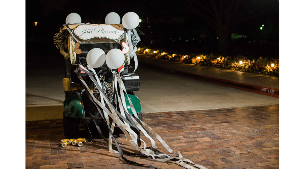 Classic Wedding Dallas Golf Cart Bride Groom Country Club Weding